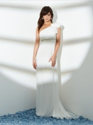 A-Line/Princess Asymmetric Brush Train chiffon wedding dress for bridal(y0809021)