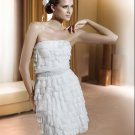 A-line/Princess Strapless knee-length organza wedding dress for brides 2010style(DEX0032)