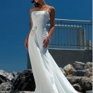 A-line/Princess Strapless Cathedral Satin wedding dress for brides 2010style(DEX0027)