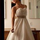 A-line/Princess Strapless Knee-length Satin wedding dress for brides 2010style(DEX0013)