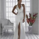 A-line/Princess Strapless halter top  Cathedral Satin wedding dress for brides 2010style(WDA033)