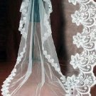 1T white CATHEDRAL LACE MANTILLA WEDDING Bride VEIL3 M