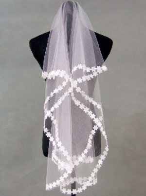 1T IVORY WHITE LACE MANTILLA WEDDING Bride VEIL #18