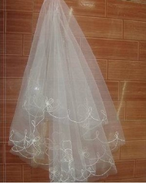1T IVORY WHITE LACE MANTILLA WEDDING Bride VEIL #26