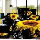yellow sunflowe black leopard skin printed bedding bed linens comforter set queen quilt duvet covers