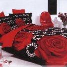 black red rose flower printed bedding cotton bed linens comforter set queen quilt duvet covers