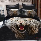 brown black leopard animal printed cotton bed linens bedding comforter set queen quilt duvet covers