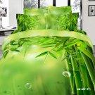 green bamboo printed 100% cotton bed linens girls bedding comforter set queen quilt duvet covers