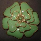 BROOCH (PIN): Vintage Green Enamel and Rhinestone Flower