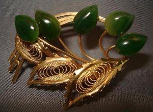 BROOCH (PIN): Vintage Jade