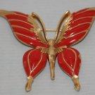 BROOCH (PIN): Trifari Vintage Women's Red Enamel Butterfly
