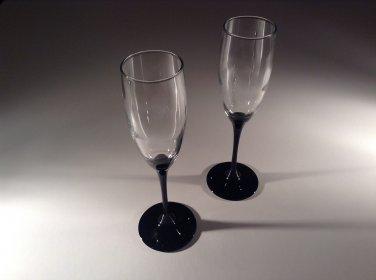 STEMWARE:  Luminarc champagne flutes - black stem
