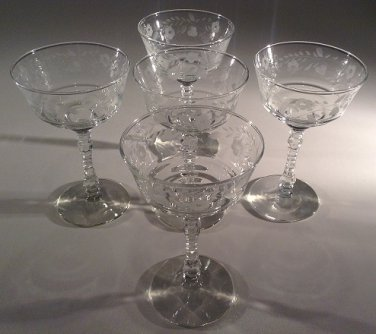 STEMWARE:  classic cocktail coupe etched flower pattern textured stem