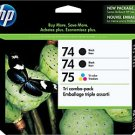 HP 74/74/75 Black/Tricolor Ink Cartridges, 3/Pack