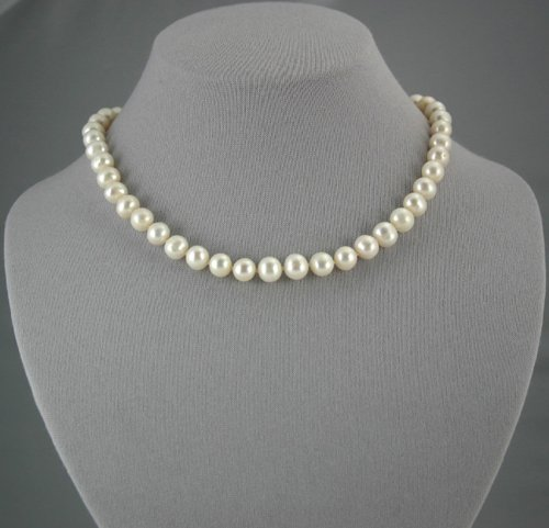 "10-12 mm Single Strand White Pearl Necklace 16"""" with 2"""" extender"