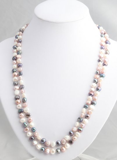 """48"""""""" Multicolor freshwater black, lavender and white pearl necklace"""