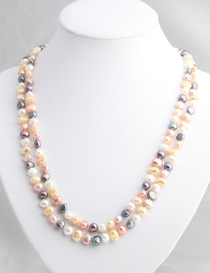 """48"""""""" Multicolor freshwater black, lavender, gold and white pearl necklace"""