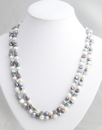 "48"""" Multicolor freshwater black, silver and white pearl necklace"