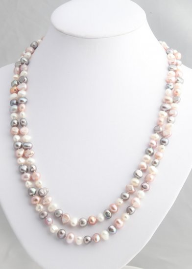 "48"""" Multicolor freshwater silver, lavender and white pearl necklace"