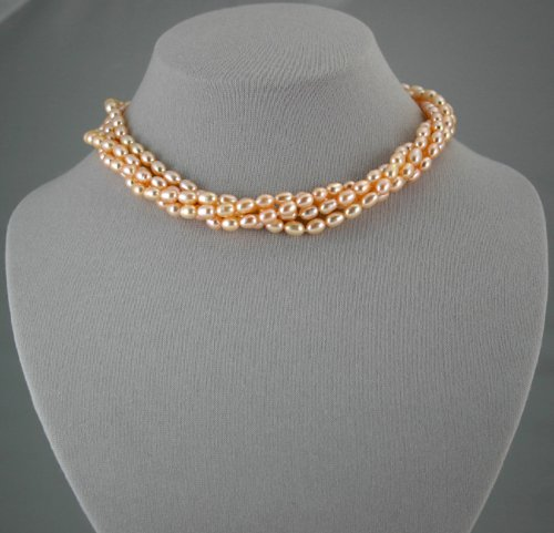 4-strand freshwater Peach Pearl necklace