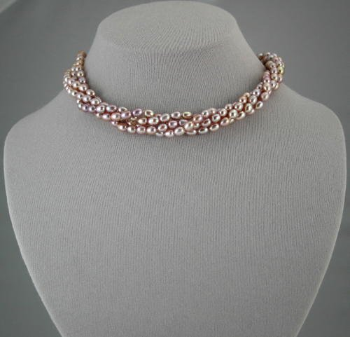 4-strand freshwater Pearl necklace. Lavender