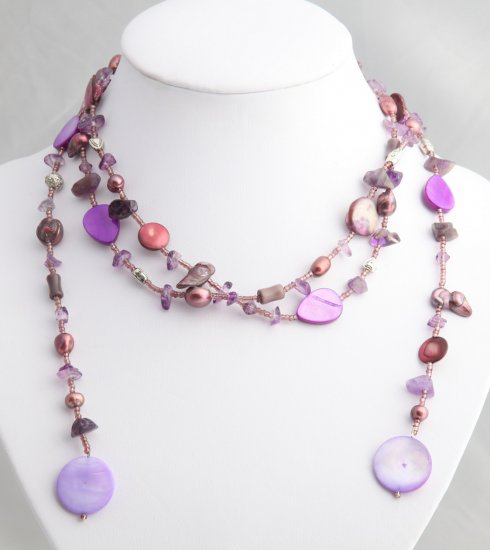 """54"""""""" Magenta Pearl, Shell, and Bead Lariat"""