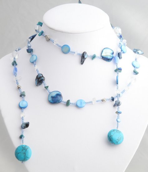 """54"""""""" Teal Pearl, Shell, and Bead Lariat"""
