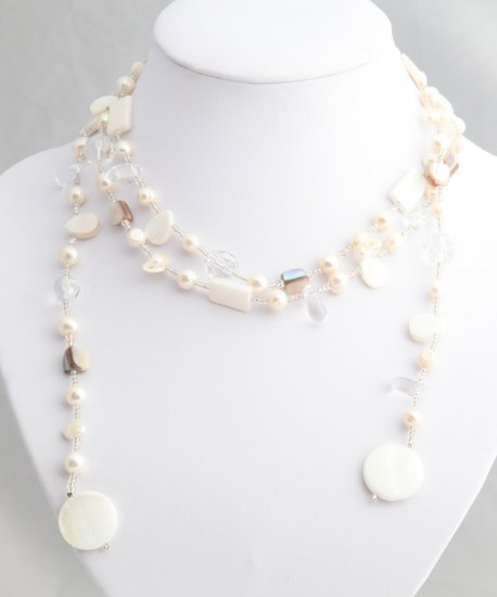 """54"""""""" White Pearl, Shell, and Bead Lariat"""
