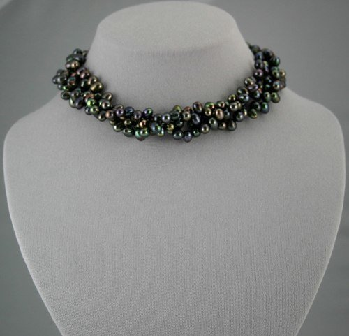 6-7 mm 3-Strand Black Pearl Necklace