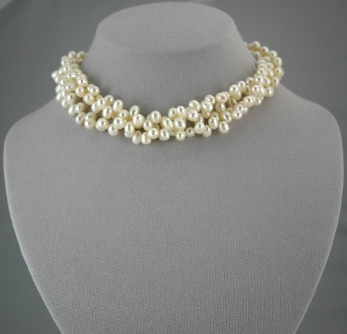 6-7 mm 3-Strand White Pearl Necklace
