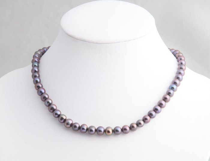 "6-7 mm Double Strand Black Pearl Necklace 16"""" with 2"""" extender"
