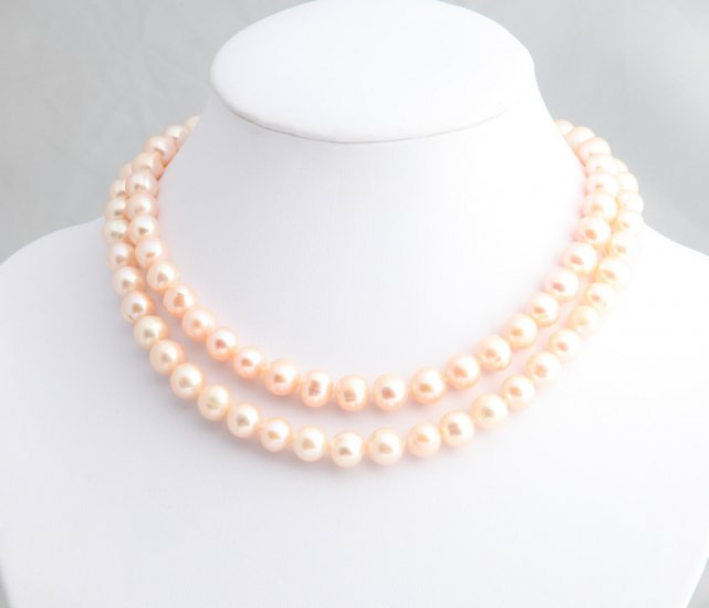 "6-7 mm Double Strand Peach Pearl Necklace 16"""" with 2"""" extender"