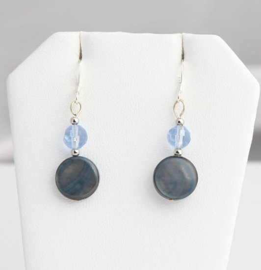 Blue Pearl Shell and bead earrings