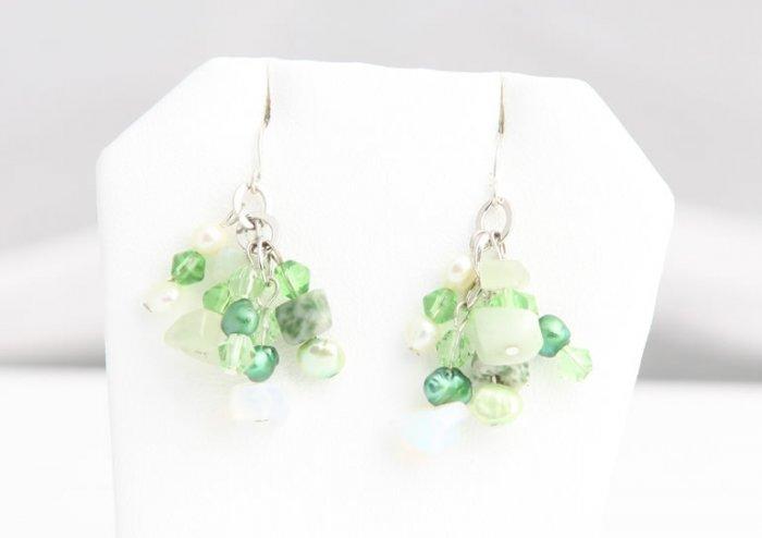 Green Pearl and Crystal Pearl Earrings