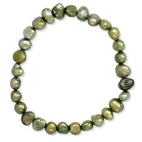 Green Freshwater Pearl Stretch Bracelet