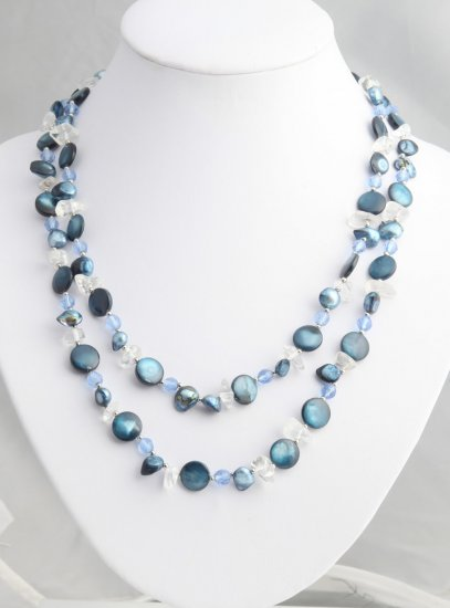 Long shell and Blue  pearl strand