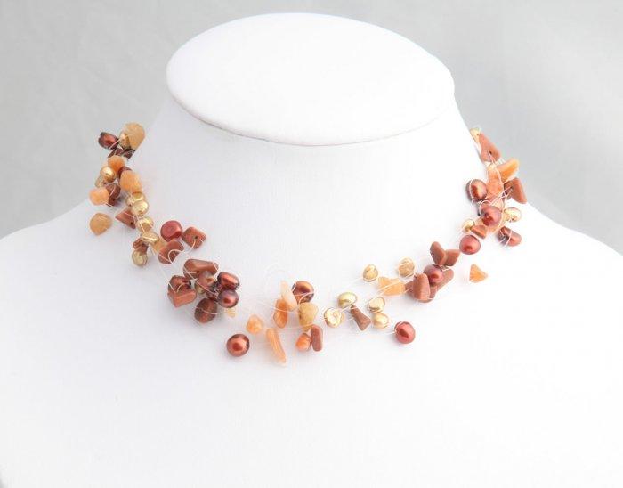 Mixed Media Auburn Pearl Necklace