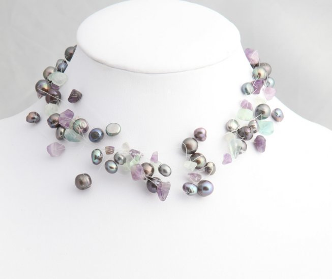 Mixed Media Black Pearl Necklace