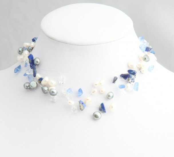 Mixed Media Blue Pearl Necklace