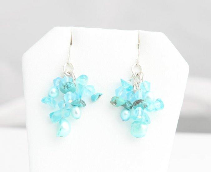 Mixed Media Teal Pearl Cluster Earrings
