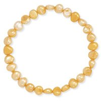 Orange Freshwater Pearl Stretch Bracelet