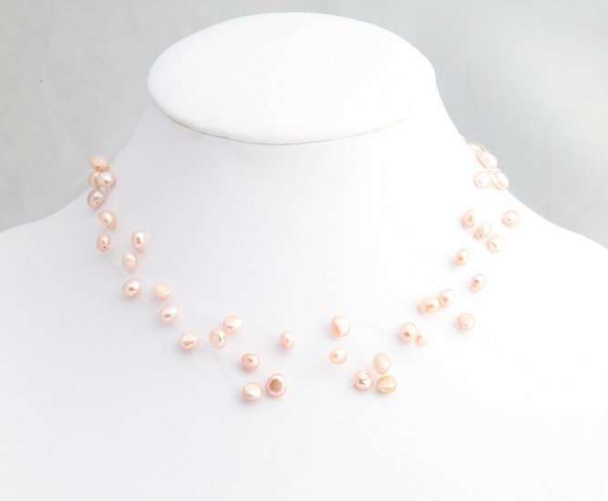 Peach Floating Pearl Necklace