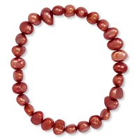 Red  Freshwater Pearl Stretch Bracelet
