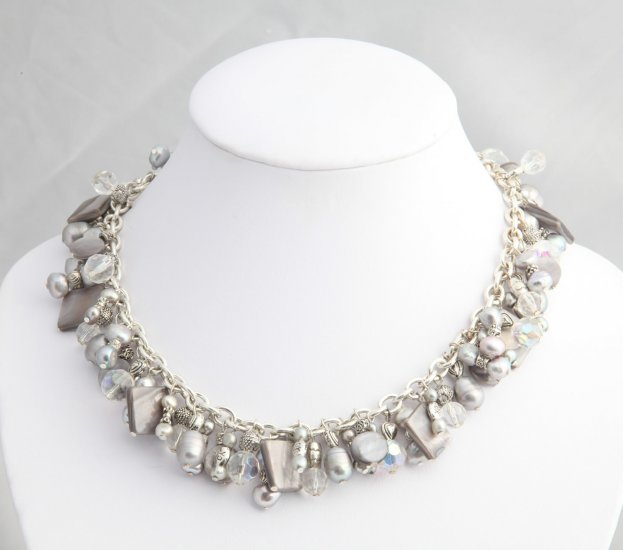 Silver Pearl Roxanne Necklace
