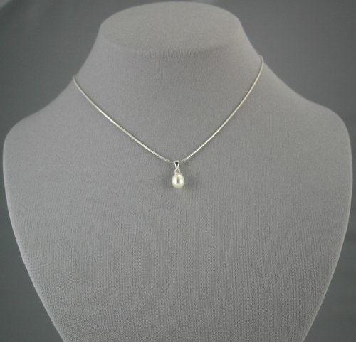 Single Drop White Pearl Pendant  18 inch