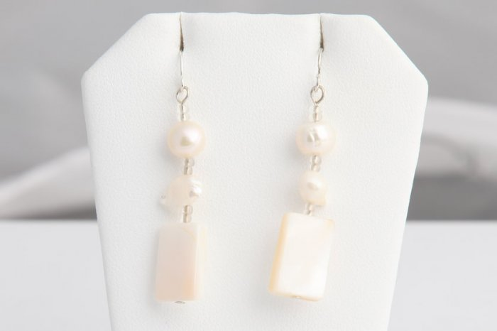 White Mother of Pearl, Pearl, and Crystal dangle earrings. Various colors available