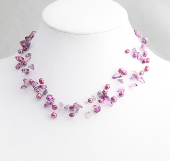 Floating Magenta Pearl Necklace