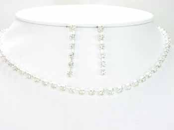 Silver Single Strand Crystal Necklace Set