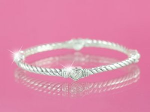 Silver Designer Style Bangle with Hearts