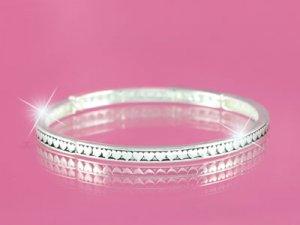 Silver Hearts Stackable Bracelet